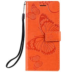 voordelige Galaxy J7(2017) Hoesjes / covers-hoesje voor Samsung Galaxy Note 10 Galaxy Note 10 plus telefoonhoes PU-leer materiaal reliëf vlinderpatroon effen kleur telefoonhoes