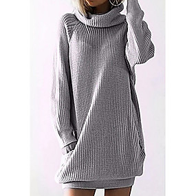 cheap Women's Sweaters-Women's Solid Colored Long Sleeve Pullover, Round Black / Gray S / M / L