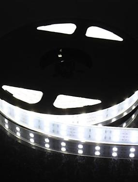 ราคาถูก ไฟเส้น LED-สองแถว 600x5050 6000lm 144W SMD IP67 กันน้ำแสงสีขาวนำแสงแถบ (5 เมตร 12v / DC)