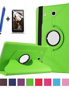 cheap Samsung Tab Series Cases / Covers-Case For Samsung Galaxy with Stand / Flip / 360° Rotation Full Body Cases Solid Colored Hard PU Leather for Tab E 9.6