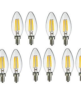 رخيصةأون مصابيح خيط ليد-10pcs 4W 360lm E14 مصابيحLED C35 4 الخرز LED COB ديكور أبيض دافئ / أبيض كول 220-240V