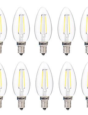 Χαμηλού Κόστους Λαμπτήρες LED με νήμα πυράκτωσης-παρατεταμένη 10 τεμ. e14 2w dimmable οδήγησε λαμπτήρα πυρακτώσεως ac 220v λευκό / ζεστό λευκό