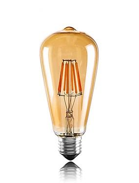 Χαμηλού Κόστους Λαμπτήρες LED με νήμα πυράκτωσης-1pc 6W 560lm E26 / E27 LED Λάμπες Πυράκτωσης ST64 6 LED χάντρες COB Διακοσμητικό Θερμό Λευκό 220-240V