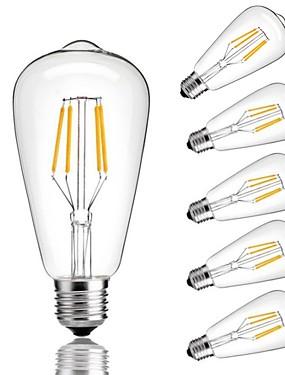 رخيصةأون مصابيح خيط ليد-6PCS 4W 360lm E26 / E27 مصابيحLED ST64 4 الخرز LED COB ديكور أبيض دافئ أبيض كول 220-240V