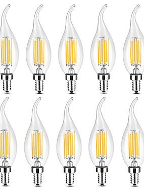 رخيصةأون مصابيح خيط ليد-YWXLIGHT® 10pcs 6 W 500-600 lm E14 أضواء شموغ LED / مصابيحLED C35 6 الخرز LED COB أبيض دافئ / أبيض 220-240 V