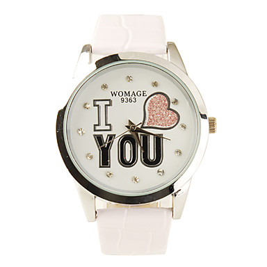 Women's I Love You Pattern White PU Band Quartz Analog Wrist Watch Cool Watches Unique Watches