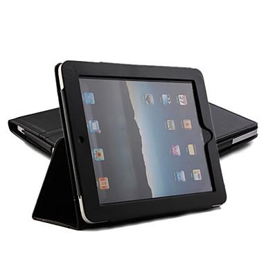 Skyddande hårt pu Läderfodral + stativ till Apple iPad (svart)