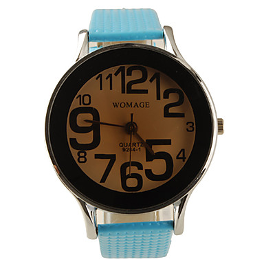 Preppy Style PU Leather Band Big Dial Quartz Men Women Wrist Watch - Light Blue