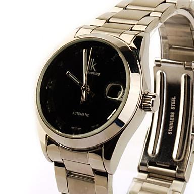 aço inoxidável auto-liquidação de relógio mecânico com o calendário para as mulheres prateado