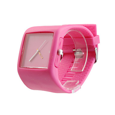 Silicone Band Fashion Women Men Unisex Casual Jelly Sport Watch - Peach Red
