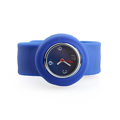 Silicone Band Fashiona Women Casual Jelly Clap Watch - Blue