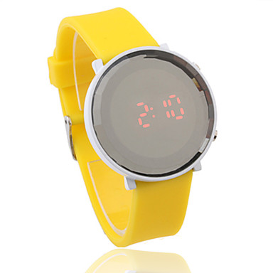 Unisex Jelly Sports Style Crystal Round Mirror Face Red Light LED Wrist Watch - Yellow