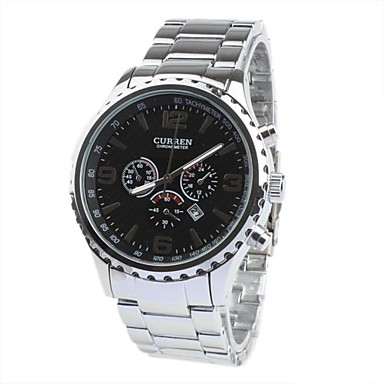 Fashion Men's Black Dial Sliver Band Wrist Watch