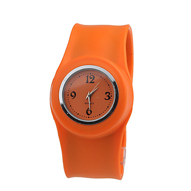 Children's Waterproof Quartz Tape Bracelet Watch with Orange Band