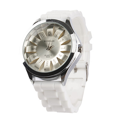 Women's Chrysanthemum Style Dial White Silicone Band Quartz Analog Wrist Watch Cool Watches Unique Watches