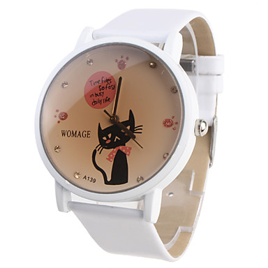 Girl's Cartoon Cat Pattern White PU Band Quartz Analog Wrist Watch Cool Watches Unique Watches