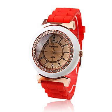 Red Silicone Band Quartz Movement Wrist Watch with Czechic Diamond Decoration