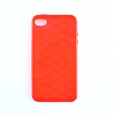 Protective Soft Silica Gel Transparent Case for iPhone4G (Red)