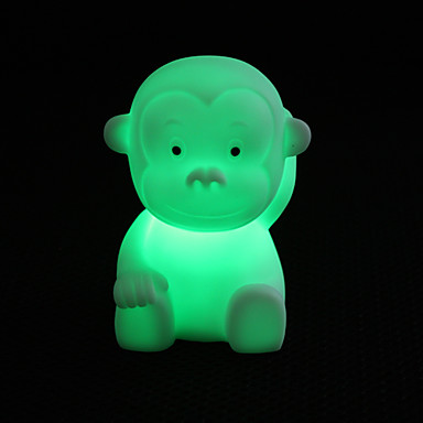 Cute Monkey Shaped Colorful LED Night Light (3xLR44)