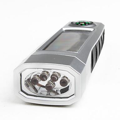 Portable 1-Mode Aluminum Alloy LED Flashlight (100LM, Solar, Silver)