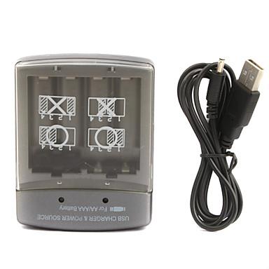 USB AA / AAA Chargeur de batterie (gris argenté)
