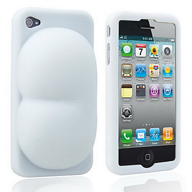 Super Sexy Soft Silicon Ass iBooty Case & Stand for iPhone4 (White)