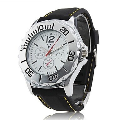 Men's Racing Style White Dial Black Silicone Band Quartz Wrist Watch