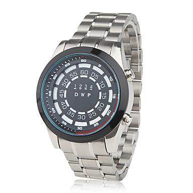 Fashion Auto LED Steel Wrist Watch Black Dial