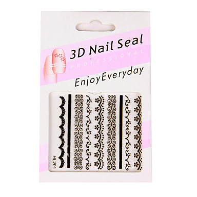 6 Nail Art Stickers French Style White/Black/Pink Lace