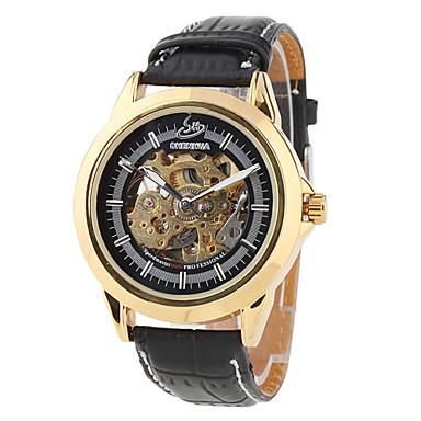los hombres de la PU analógico reloj de pulsera mecánico (negro)