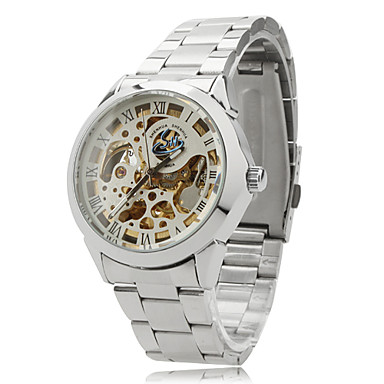 SHENHUA® Unisex Auto-Mechanical Hollow Dial Silver Steel Band Analog Wrist Watch (Assorted Colors) Cool Watch Unique Watch
