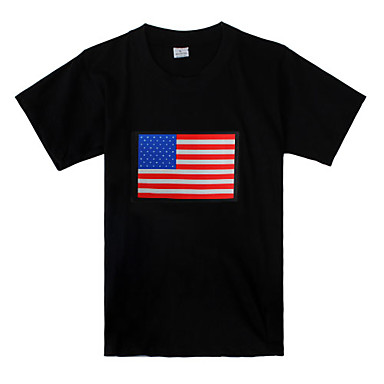 Sound and Music Activated USA Flag Pattern LED T-shirt (3 x AAA Batteries)