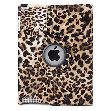 luipaard print 360 graden draaiende pu lederen tas & houder voor iPad 2/3/4 (bruin)