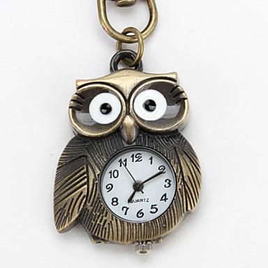 nette Eule von Unisex-Legierung Analog Quarz Schlüsselbund Uhr (Bronze)