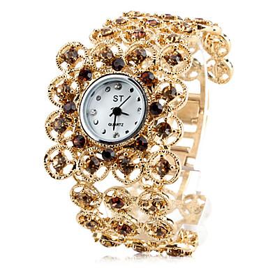Women's Diamond Alloy Style Analog Quartz Bracelet Watch (Gold)