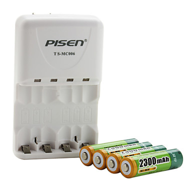 Pisen AA AAA Battery Charger with 4 x 2300mAh Ni-MH AA Rechargeable Battery