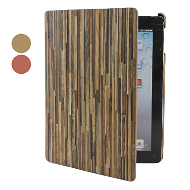 Wood Grain Style PU Leather Case with Stand for iPad 2/3/4 (Assorted Colors)
