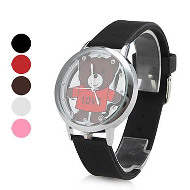 les femmes l'amour d'ours cuir PU analogique montre-bracelet à quartz (couleurs assorties)