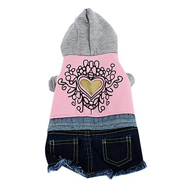 coração com capuz estilo padrão com saia jeans para cães (xs-xl, rosa)