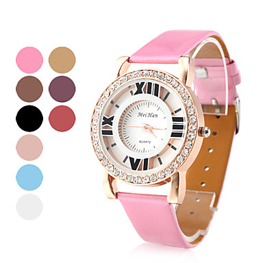 Women's Hollow PU Leather Analog Quartz Wrist Watch with Crystals (Assorted Colors)