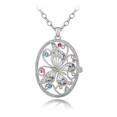 de aleación y cristal inteligente diseño de la mariposa collar de platino plateado