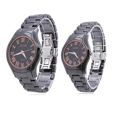 Couple Style Ceramic Analog Quartz Wrist Watch (Black)