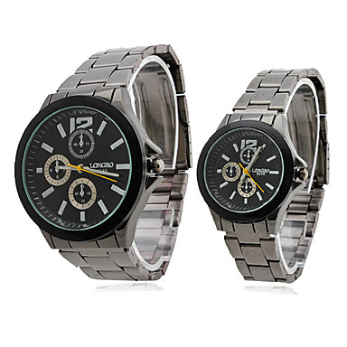 Couple Style Stainless Steel Alloy Analog Quartz Wrist Watch (Black)