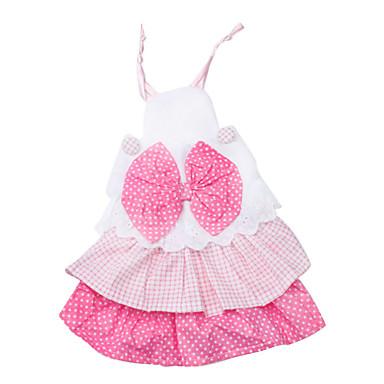 Dog / Cat Dress Pink Spring/Fall Polka Dots