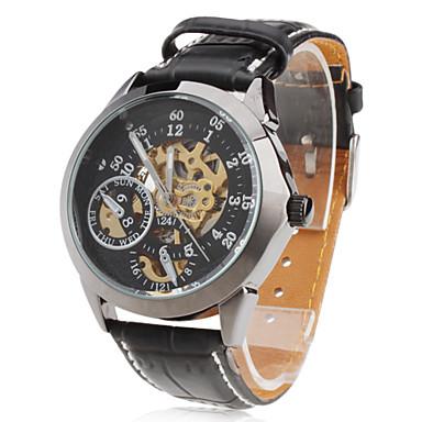 hommes pu analogique automatique montre-bracelet mécanique (noir)