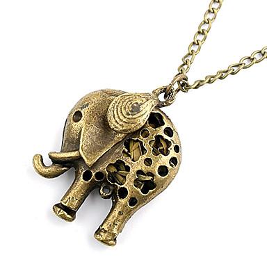 antik koppar ihålig ut elefant halsband