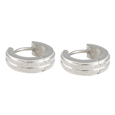 Double Row Frosted Stainless Steel Earring
