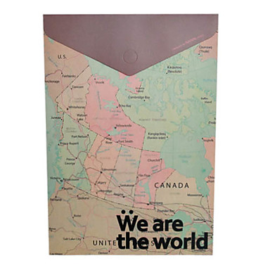 Vintage World Map Design A4 File Packet