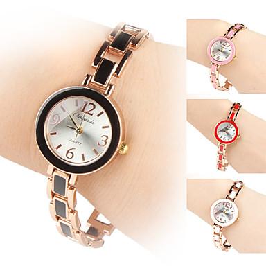 quartz analogique cadran rond bande d'alliage de bracelet de montre des femmes (couleurs assorties)