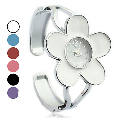 Women's Steel Band Analog Quartz Cuff Bracelet Watch With Colorful Flower Pattern Dial Cool Watches Unique Watches